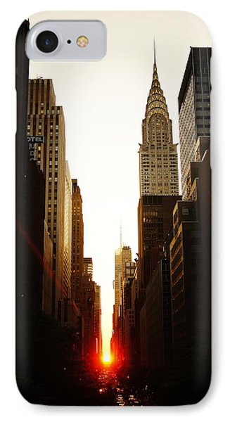 City Scenes iPhone 8 Case - Manhattanhenge Sunset And The Chrysler Building  by Vivienne Gucwa
