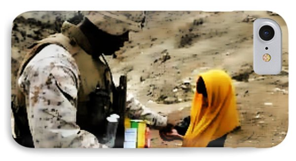 Marine Gives Afgan Girl Candy IPhone Case