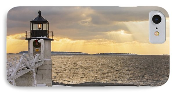 Marshall Point Lighthouse In Winter Maine  IPhone Case