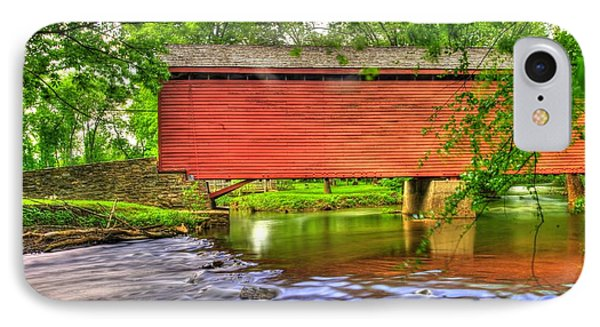 Maryland Country Roads - Peaceful Crossing - Loys Station Covered Bridge 3a Spring IPhone Case