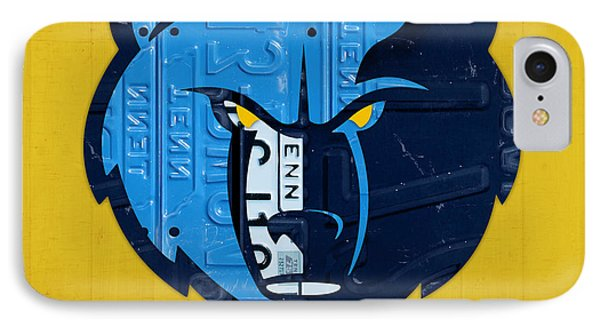 Memphis Grizzlies Basketball Team Retro Logo Vintage Recycled Tennessee License Plate Art IPhone Case