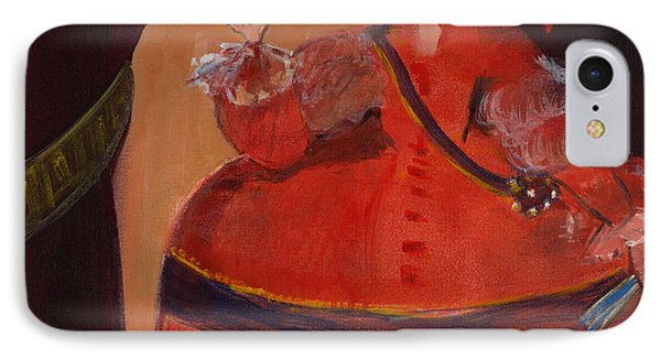 Menina In Red With Small Cockerel Oil & Acrylic On Canvas IPhone Case
