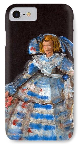 Menina With Blue Moon Oil & Acrylic On Canvas IPhone Case