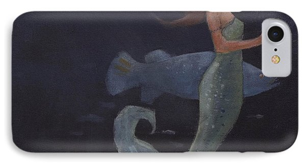 Mermaid And The Blue Fish IPhone Case