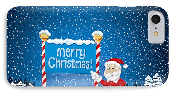 Merry Christmas Sign Santa Claus Winter Landscape IPhone Case