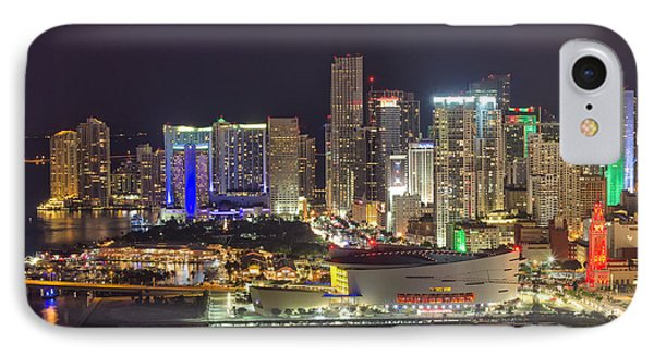 Miami Downtown Skyline American Airlines Arena IPhone Case