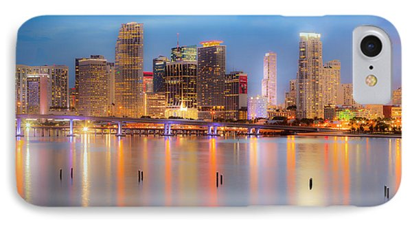 Miami Skyline On A Still Night- Soft Focus  IPhone Case