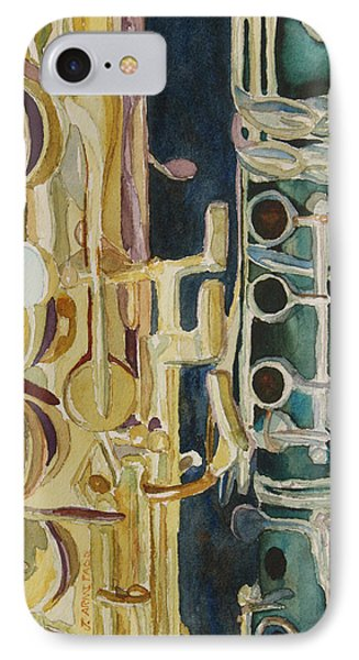 Saxophone iPhone 8 Case - Midnight Duet by Jenny Armitage