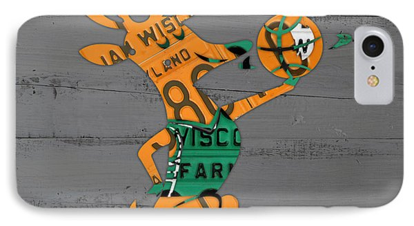 Milwaukee Bucks Basketball Team Logo Vintage Recycled Wisconsin License Plate Art IPhone Case