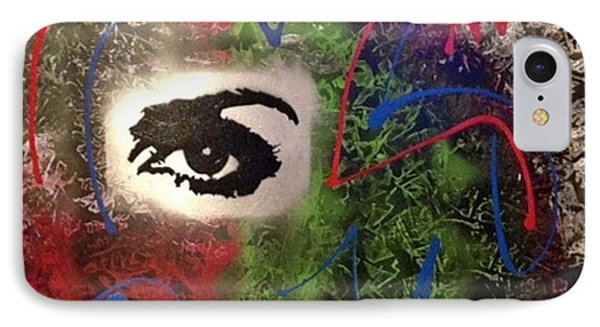 Mixed Media Abstract Post Modern Art By Alfredo Garcia Eye See You 2 IPhone Case
