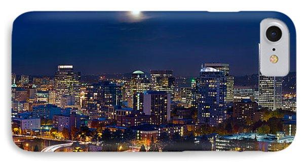 Moon Over Portland Oregon City Skyline At Blue Hour IPhone Case