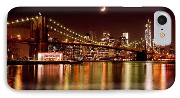 Moon Over The Brooklyn Bridge IPhone Case