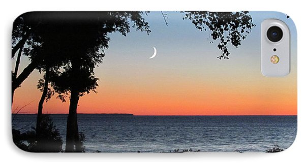 Moon Sliver At Sunset IPhone Case
