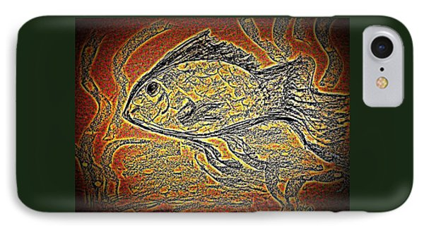 Mosaic Goldfish In Charcoal IPhone Case