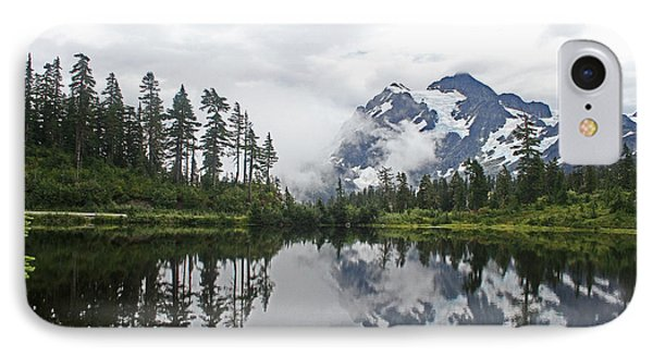 Mount Baker- Lake- Fir Trees And  Fog IPhone Case