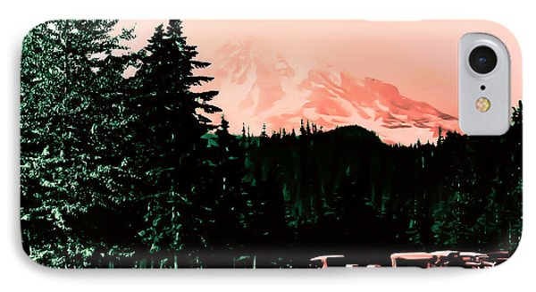 Mount Rainier With Vintage Cars Early 1900 Era... IPhone Case