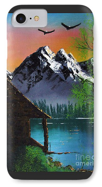 Mountain Lake Cabin W Eagles IPhone Case