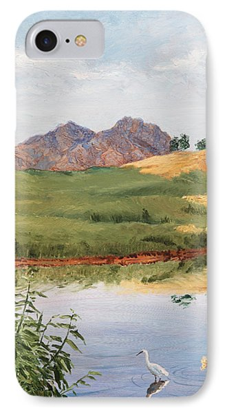 Mountain Landscape With Egret IPhone Case