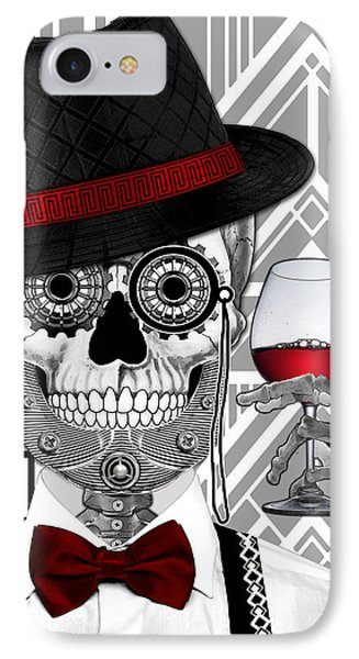 Mr. J.d. Vanderbone - Day Of The Dead 1920's Sugar Skull - Copyrighted IPhone Case