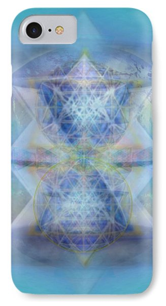 Multivortex 3d Chalice With Horizontal Vortexes Over The Earth IPhone Case