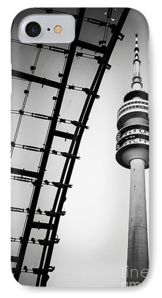 Munich - Olympiaturm And The Roof - Bw IPhone Case
