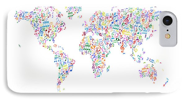 Music Notes Map Of The World IPhone Case
