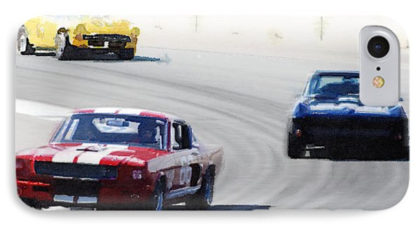 Mustang And Corvette Racing Watercolor IPhone Case