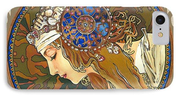 My Acrylic Painting As Interpretation Of Alphonse Mucha- Byzantine Head. The Blonde. Diagonal Frame. IPhone Case