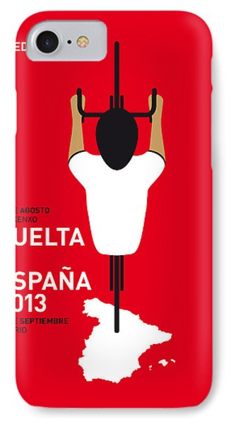 Bicycle iPhone 8 Case - My Vuelta A Espana Minimal Poster - 2013 by Chungkong Art