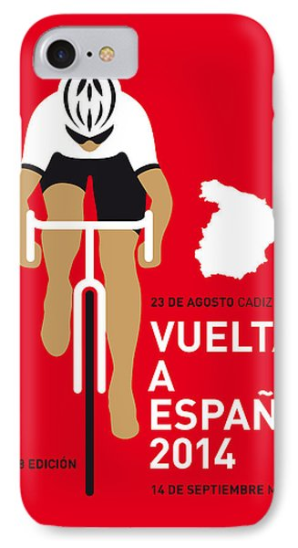 Bicycle iPhone 8 Case - My Vuelta A Espana Minimal Poster 2014 by Chungkong Art