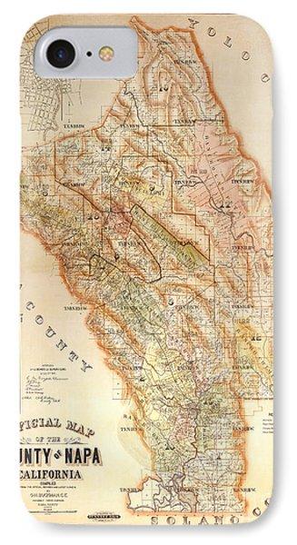 French iPhone 8 Case - Napa Valley Map 1895 by Jon Neidert