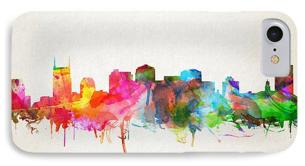 Nashville Skyline Watercolor 9 IPhone Case