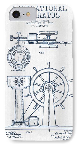 Navigational Apparatus Patent Drawing From 1920  -  Blue Ink IPhone Case