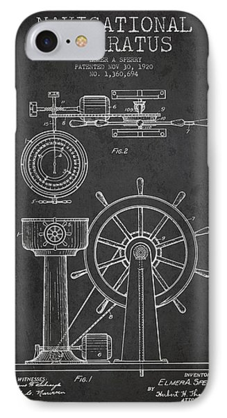 Navigational Apparatus Patent Drawing From 1920 - Dark IPhone Case