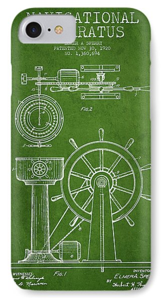 Navigational Apparatus Patent Drawing From 1920 - Green IPhone Case