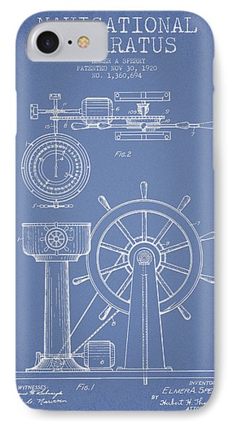 Navigational Apparatus Patent Drawing From 1920 - Light Blue IPhone Case