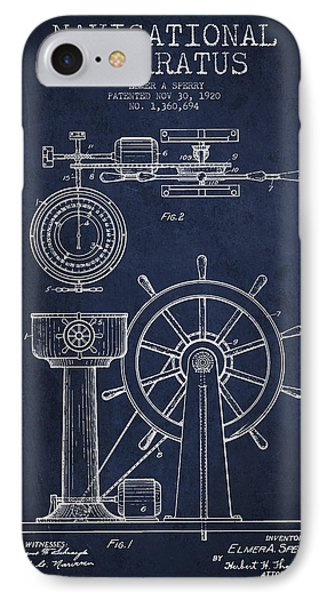 Navigational Apparatus Patent Drawing From 1920 - Navy Blue IPhone Case