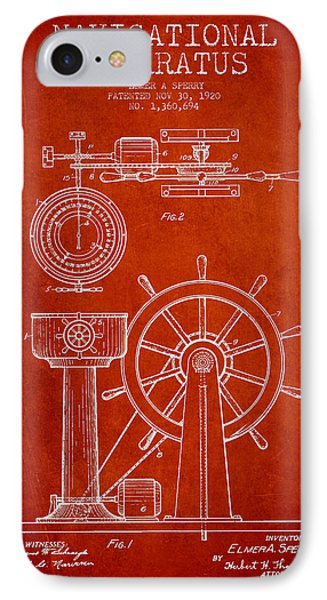 Navigational Apparatus Patent Drawing From 1920 - Red IPhone Case