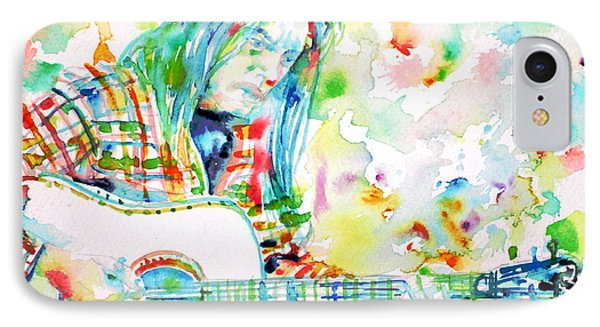 Neil Young Playing The Guitar - Watercolor Portrait.1 IPhone Case