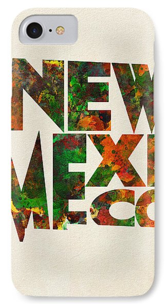 New Mexico Typographic Watercolor Map IPhone Case