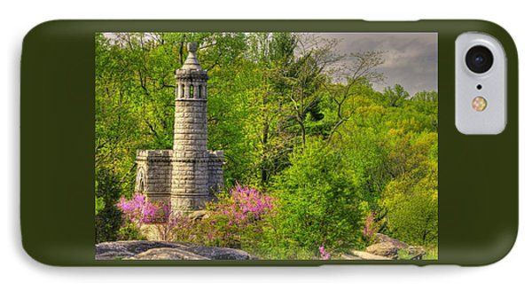 New York At Gettysburg - Monument To 12th / 44th Ny Infantry Regiments-1a Little Round Top Spring IPhone Case