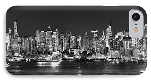 New York City Nyc Skyline Midtown Manhattan At Night Black And White IPhone Case
