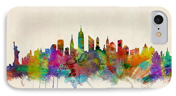 City Scenes iPhone 8 Case - New York City Skyline by Michael Tompsett