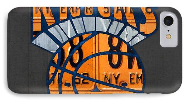 New York Knicks Basketball Team Retro Logo Vintage Recycled New York License Plate Art IPhone Case