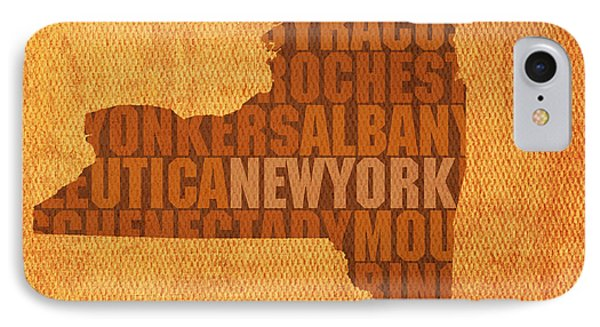 City Scenes iPhone 8 Case - New York Word Art State Map On Canvas by Design Turnpike