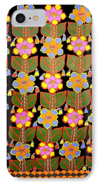 Night Flower-madhubani Paintings IPhone Case