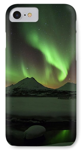 Northern Lights Over Frozen Lake Troms IPhone Case