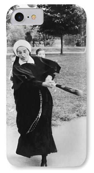 Nun Swinging A Baseball Bat IPhone Case