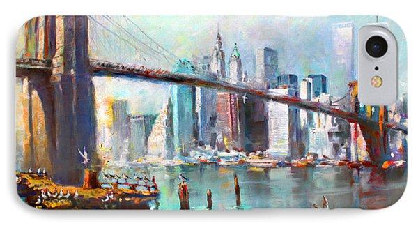 City Scenes iPhone 8 Case - Ny City Brooklyn Bridge II by Ylli Haruni