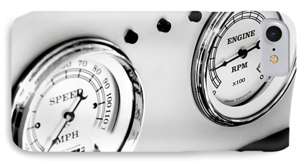 Odometer And Tachometer Of An Antique Car IPhone Case